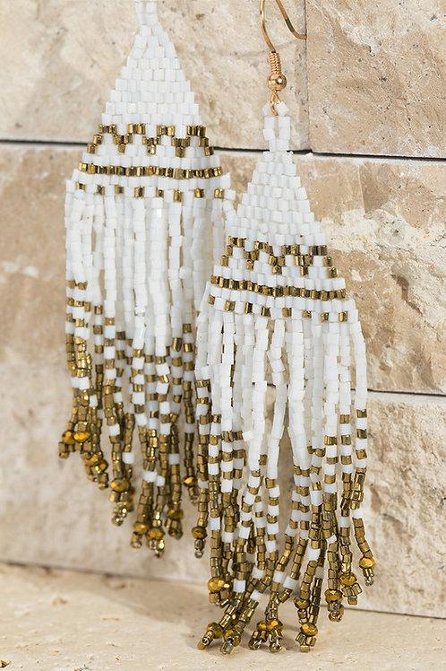 Seed Bead Tassel Earrings