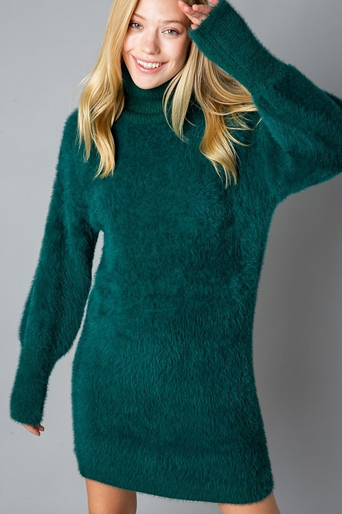 Hunter Green Turtle Neck Sweater Dress