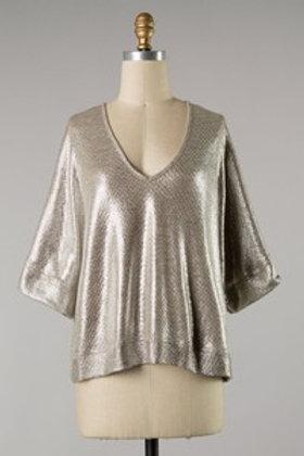 Shiny Silver Woven Blouse