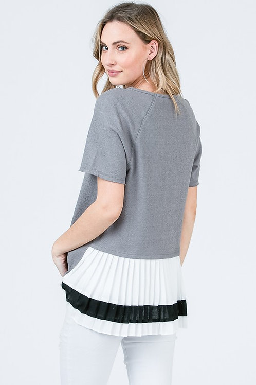 Grey Pleated Back Top