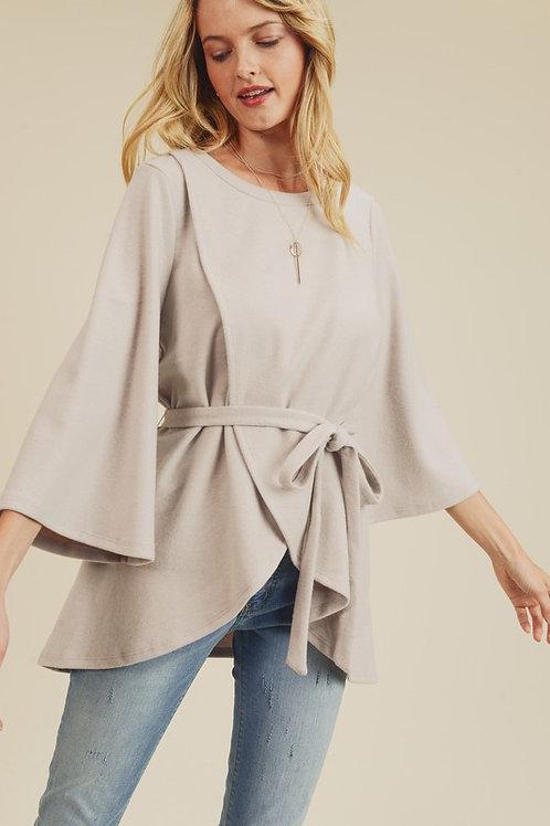 Misty Grey Wrap Sweater