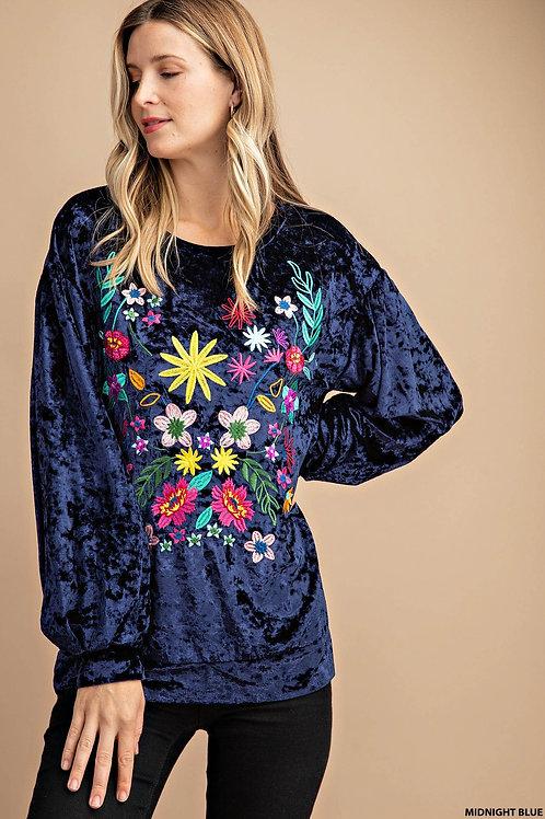 Floral Embroidered Velvet Top