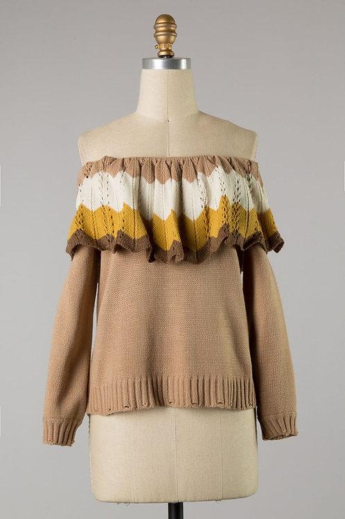 Mocha Chevron Knit Blouse
