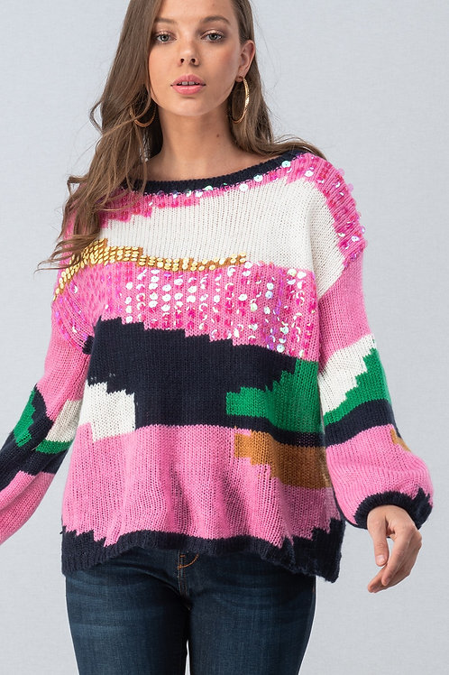 Abstract Color Block Knit Sweater