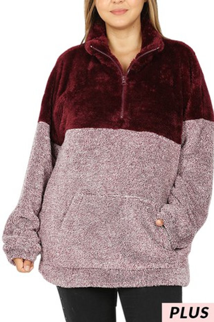 Burgundy Two Tone Pullover