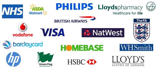 NHS, ASDA, Philips, Lloyds Pharmacy, British Airways, Vodafone, Visa, NatWest, The FA, W H Smith, Lloyds of Londo, HSBC, Green Flag, Hp, Barclaycard
