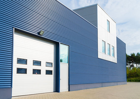 exterior of a modern warehouse with offi