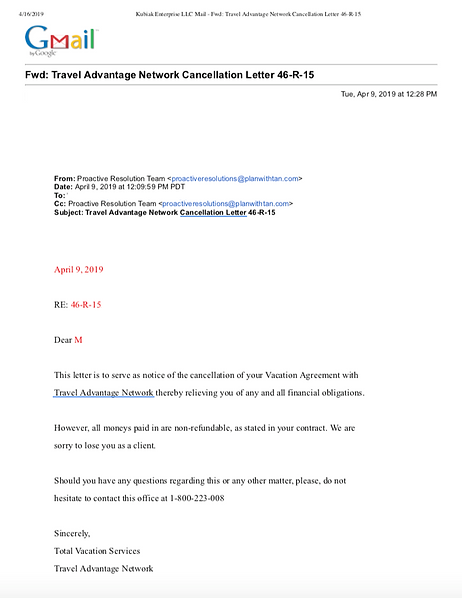 Timeshare cancellation confirmation