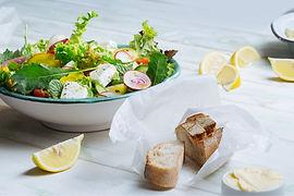 Fresh Salad with Feta, Bread slices