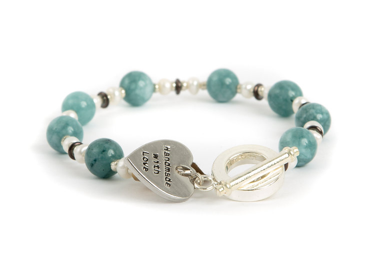 Amazonite & Fress Water Pearl Bracelet UK Made