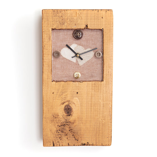 Hand Crafted Button Heart Wooden Clock