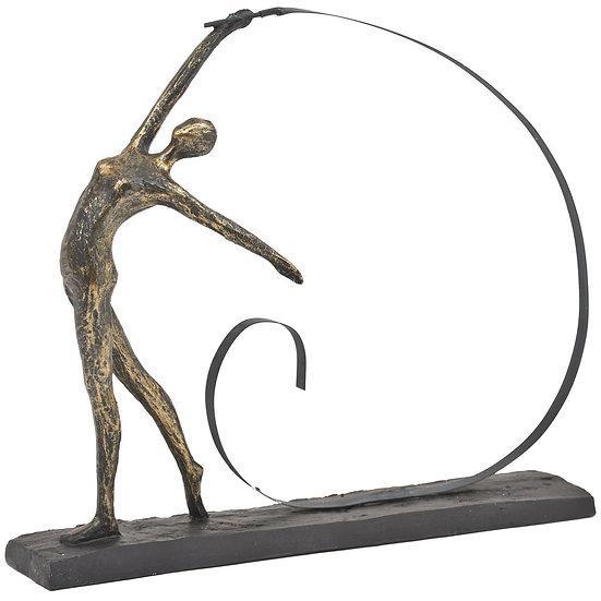 Antique Bronze Arched Back Ribbon Dancer Sculpture