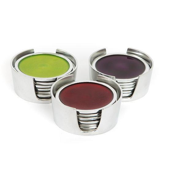 Colourful Aluminium Coasters x 6