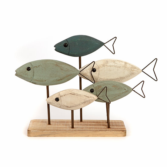 Painted Wooden Shoal Of Fish