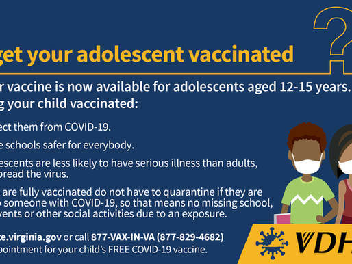 Virginia Approves COVID Vaccine for Adolescents Ages 12-15