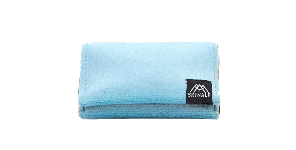 Light blue eco-friendly wallet from upcycled skitouring skins