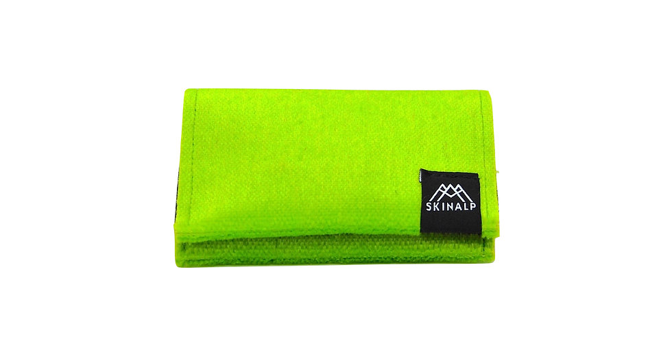 Acid green eco-friendly wallet from upcycled skitouring skins