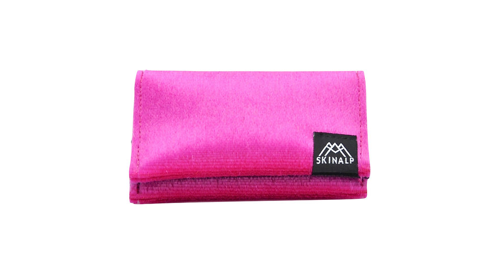 Pink eco-friendly wallet from upcycled skitouring skins