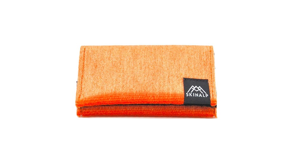Orange eco-friendly wallet from upcycled skitouring skins