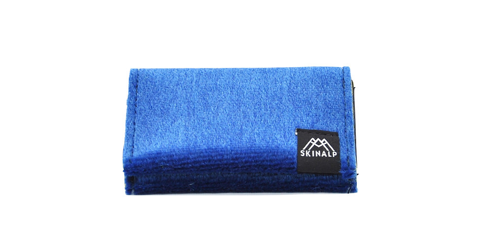 Dark blue eco-friendly wallet from upcycled skitouring skins