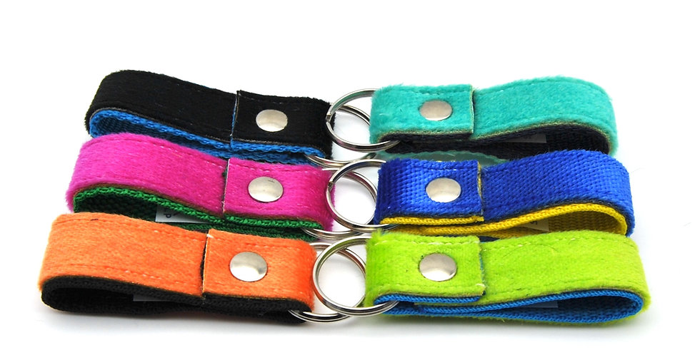 Colorful keychains from upcycled skitouring skins