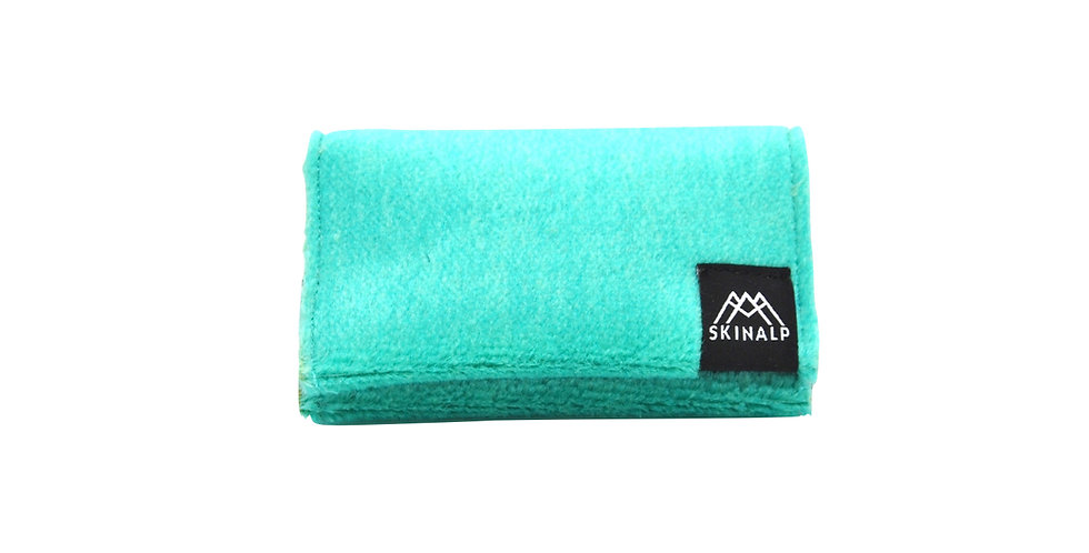 Turquoise eco-friendly wallet from upcycled skitouring skins