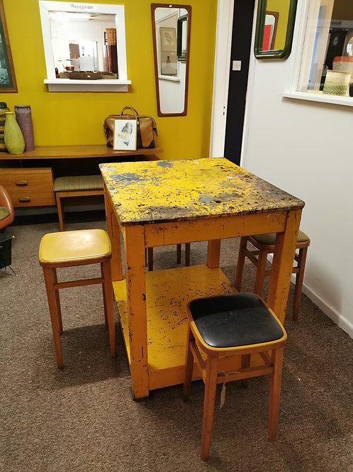 Yellow wooden industrial workbench