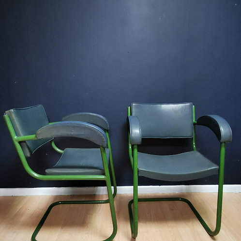 Pair of mid century canteliver chairs