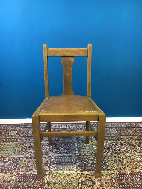 Vintage light oak chair with brown leather vinyl seat