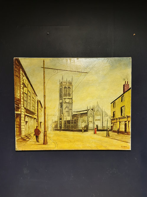 Leeds parish church by A.J. Crook Oil painting