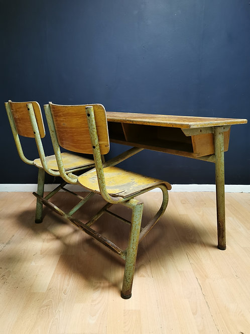 French mid century twin school desk
