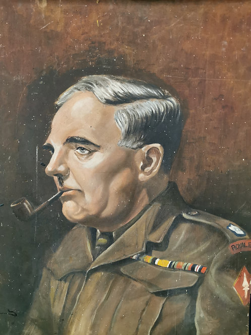 Military officer with pipe oil painting