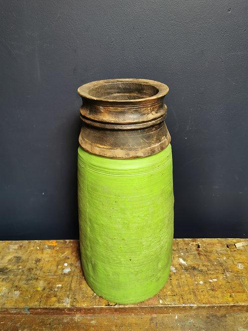 Green painted wooden pot