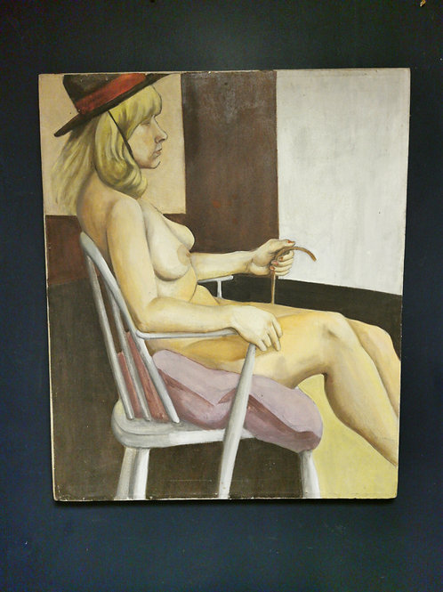 'Lady in the black hat' unsigned oil on canvas