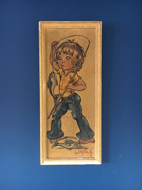 "Idylle F - Big eyed art ""Little boy fishing"""