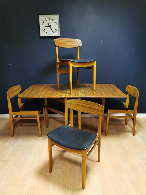 Formica dining table and 4 Beautility chairs