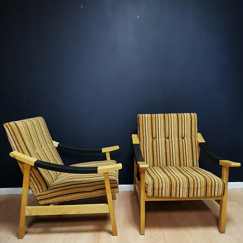 Pair of striped mid century armchairs