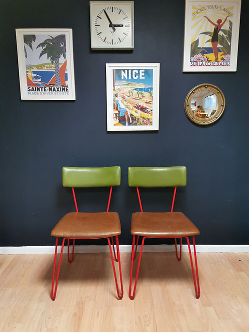 Pair Of Red Metal Frame Mid Century Chairs With Hairpin Legs