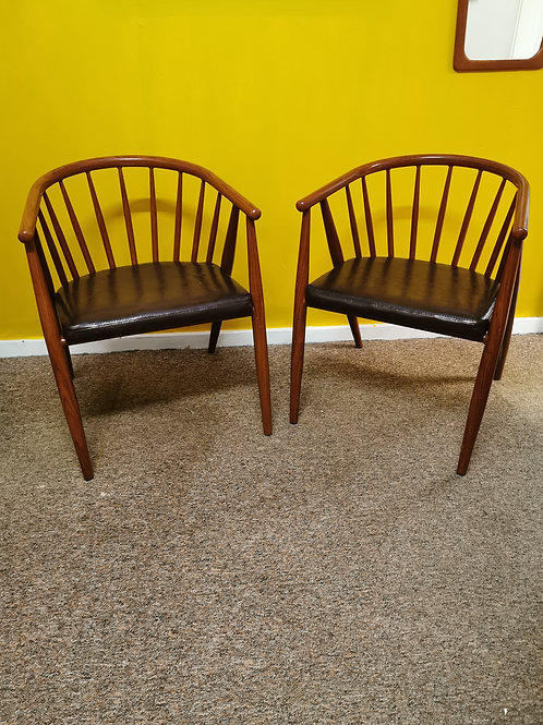Pair of mid century metal frame wood effect chairs