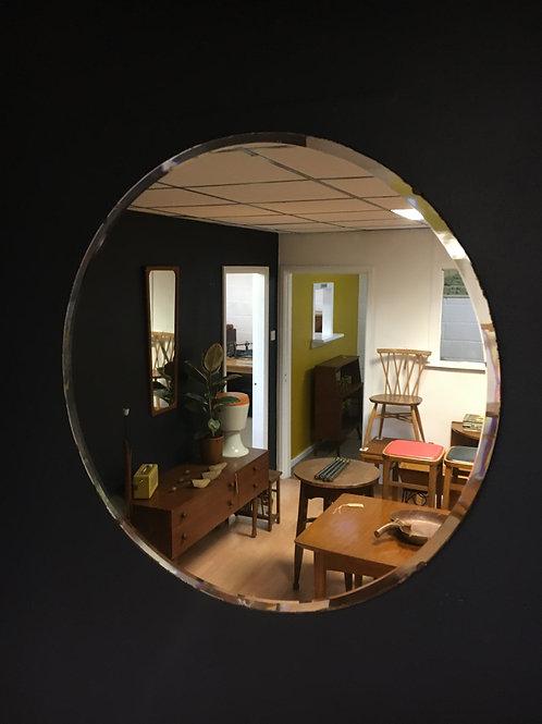 Vintage round bevelled mirror