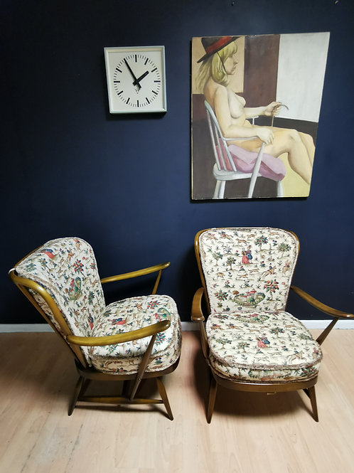 Pair of Ercol 364 double bow easy chairs