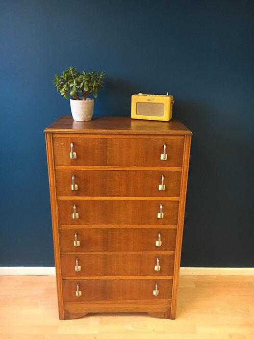 Vintage light oak art deco 6 drawer unit