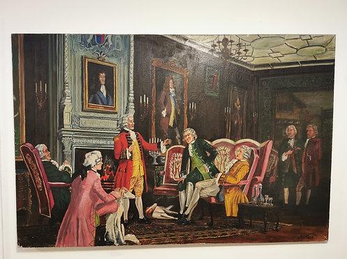 Neoclassical scene 'Gentleman's gathering' oil on canvas