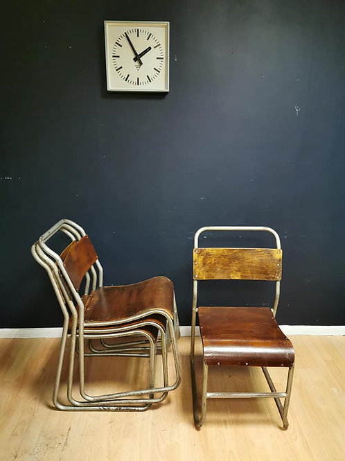 Mid century tubular steel & ply stacking chairs