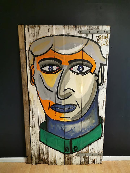 'Big head' Painting on reclaimed gate By Drew Bauer