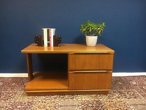 Small mid century teak 2 drawer unit / T.V unit