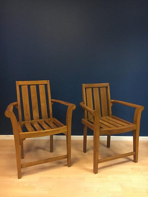 His & Hers teak armchairs