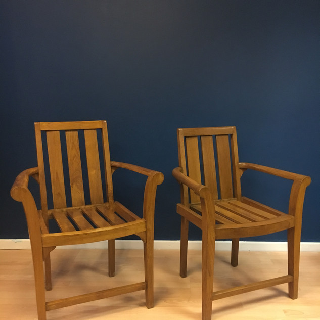 His & hers teak chairs