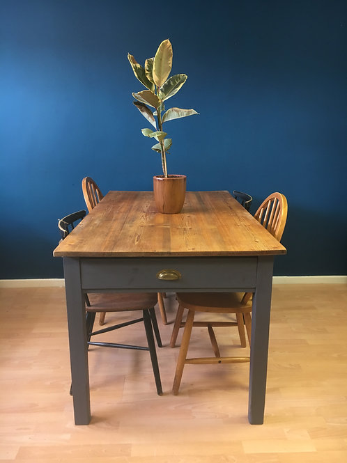 Pine farmhouse table with grey base