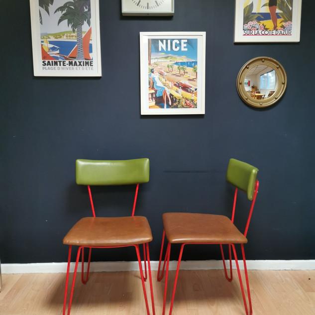 Mid century hairpin leg chairs